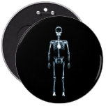 X-Ray Vision Blue Single Skeleton 6 Inch Round Button