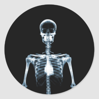 X-Ray Vision Blue Single Skeleton Classic Round Sticker