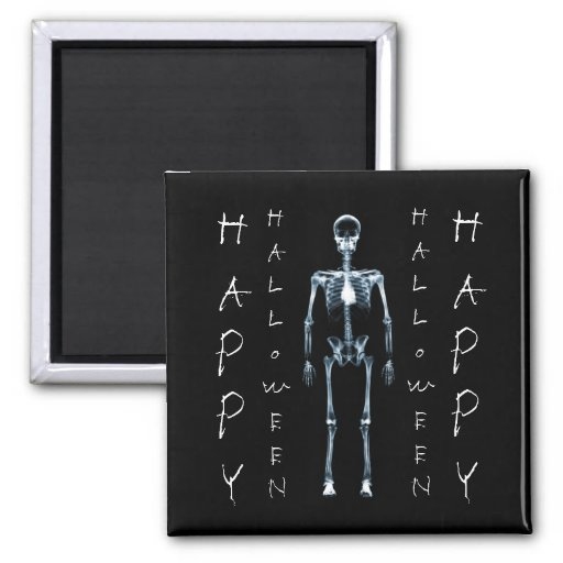 X-Ray Vision Blue Single Skeleton Happy Halloween Magnets
