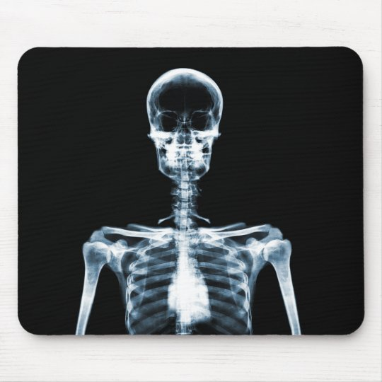 X-Ray Vision Blue Single Skeleton Mouse Pad