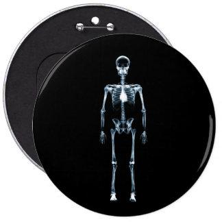 X-Ray Vision Blue Single Skeleton Pinback Button