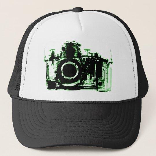 X-RAY VISION CAMERA BLACK GREEN TRUCKER HAT