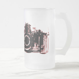 X-RAY VISION CAMERA BLACK RED FROSTED GLASS BEER MUG