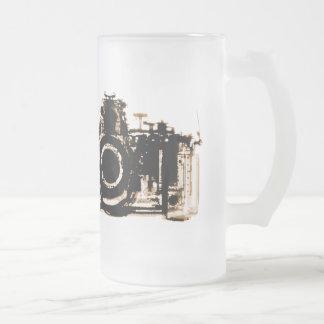 X-RAY VISION CAMERA BLACK SEPIA FROSTED GLASS BEER MUG