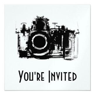 """X-RAY VISION CAMERA - BLACK & WHITE 5.25"""" SQUARE INVITATION CARD"""