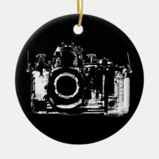 X-RAY VISION CAMERA - BLACK & WHITE Double-Sided CERAMIC ROUND CHRISTMAS ORNAMENT