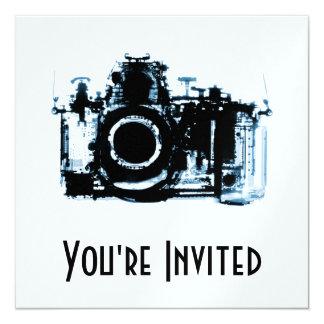 """X-RAY VISION CAMERA - BLUE 5.25"""" SQUARE INVITATION CARD"""