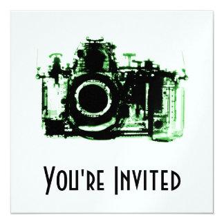 "X-RAY VISION CAMERA - GREEN 5.25"" SQUARE INVITATION CARD"