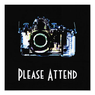 """X-RAY VISION CAMERA - ORIGINAL BLUE 5.25"""" SQUARE INVITATION CARD"""