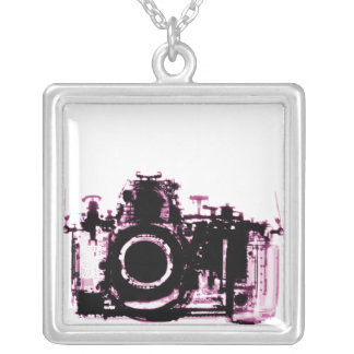 X-RAY VISION CAMERA - PINK SQUARE PENDANT NECKLACE