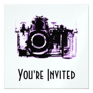 """X-RAY VISION CAMERA - PURPLE 5.25"""" SQUARE INVITATION CARD"""