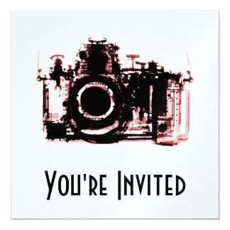 "X-RAY VISION CAMERA - RED 5.25"" SQUARE INVITATION CARD"