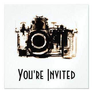 """X-RAY VISION CAMERA - SEPIA 5.25"""" SQUARE INVITATION CARD"""