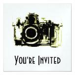 "X-RAY VISION CAMERA - YELLOW 5.25"" SQUARE INVITATION CARD"