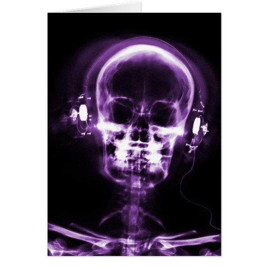 X-RAY VISION MUSIC HEADPHONES SKELETON - PURPLE CARD