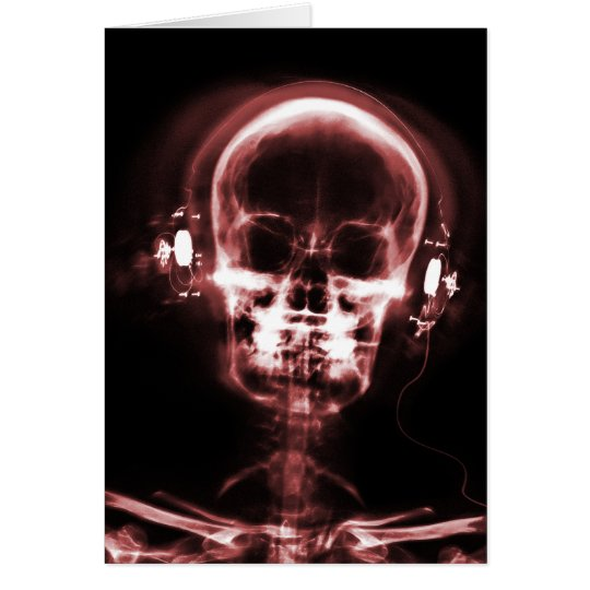 X-RAY VISION MUSIC HEADPHONES SKELETON - RED CARD