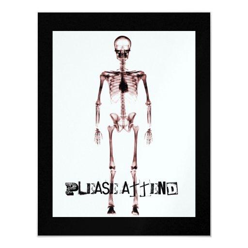"X-Ray Vision Single Skeleton White Red 4.25"" X 5.5"" Invitation Card"