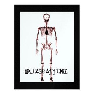X-Ray Vision Single Skeleton White Red Custom Invites
