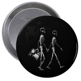 X-RAY VISION SKELETON COUPLE TRAVELING B&W PINBACK BUTTONS