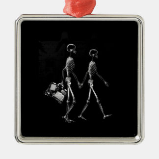 X-RAY VISION SKELETON COUPLE TRAVELING B W ORNAMENTS