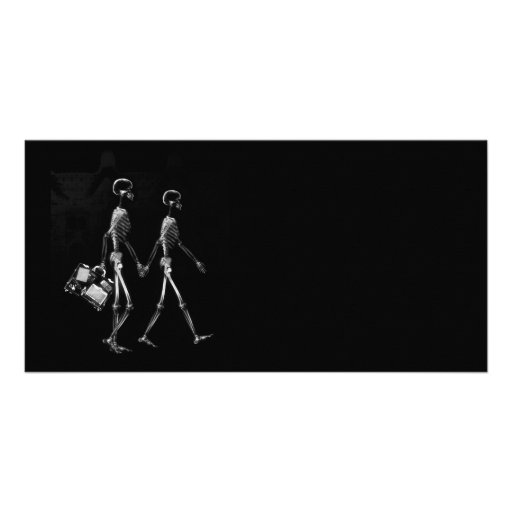 X-RAY VISION SKELETON COUPLE TRAVELING B&W PHOTO CARD