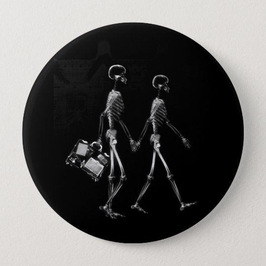 X-RAY VISION SKELETON COUPLE TRAVELING B&W PINBACK BUTTON