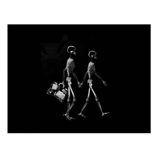 X-RAY VISION SKELETON COUPLE TRAVELING B&W POSTCARD