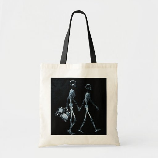X-RAY VISION SKELETON COUPLE TRAVELING BLUE CANVAS BAG