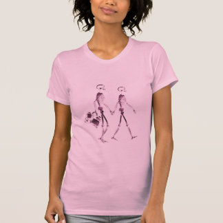 X-Ray Vision Skeleton Couple Traveling - Pink T Shirts
