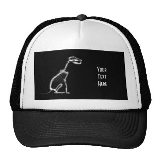 X-RAY VISION SKELETON DOG SITTING - B&W TRUCKER HAT