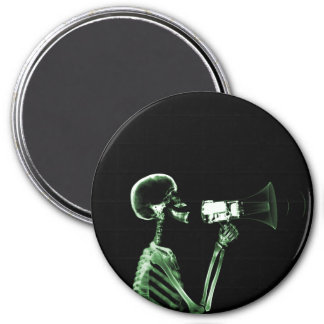 X-RAY VISION SKELETON ON MEGAPHONE - GREEN 3 INCH ROUND MAGNET