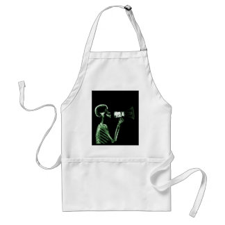 X-RAY VISION SKELETON ON MEGAPHONE - GREEN ADULT APRON