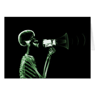 X-RAY VISION SKELETON ON MEGAPHONE - GREEN CARD