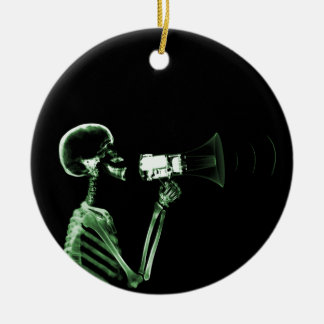 X-RAY VISION SKELETON ON MEGAPHONE - GREEN CERAMIC ORNAMENT