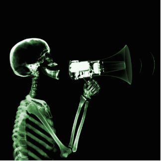 X-RAY VISION SKELETON ON MEGAPHONE - GREEN CUTOUT
