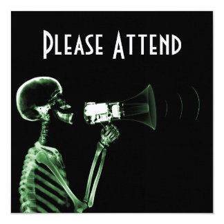 X-RAY VISION SKELETON ON MEGAPHONE - GREEN CUSTOM INVITES