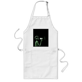 X-RAY VISION SKELETON ON MEGAPHONE - GREEN LONG APRON
