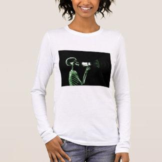 X-RAY VISION SKELETON ON MEGAPHONE - GREEN LONG SLEEVE T-Shirt