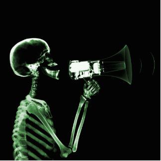 X-RAY VISION SKELETON ON MEGAPHONE - GREEN PHOTO CUTOUTS