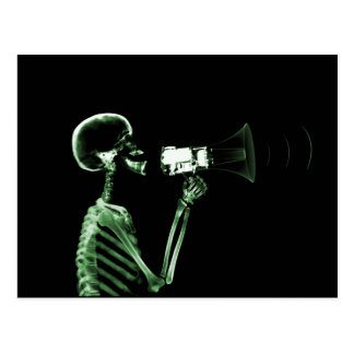 X-RAY VISION SKELETON ON MEGAPHONE - GREEN POSTCARD