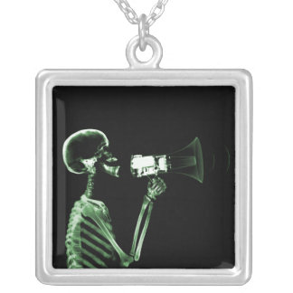 X-RAY VISION SKELETON ON MEGAPHONE - GREEN SQUARE PENDANT NECKLACE