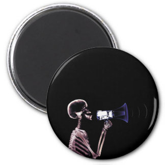 X-RAY VISION SKELETON ON MEGAPHONE - ORIGINAL 2 INCH ROUND MAGNET