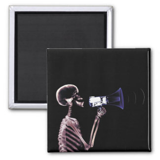 X-RAY VISION SKELETON ON MEGAPHONE - ORIGINAL 2 INCH SQUARE MAGNET