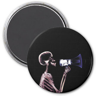 X-RAY VISION SKELETON ON MEGAPHONE - ORIGINAL 3 INCH ROUND MAGNET