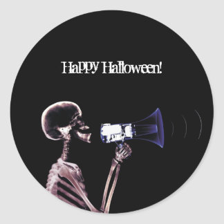 X-RAY VISION SKELETON ON MEGAPHONE - ORIGINAL CLASSIC ROUND STICKER