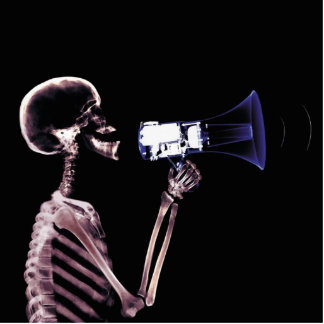 X-RAY VISION SKELETON ON MEGAPHONE - ORIGINAL CUTOUT