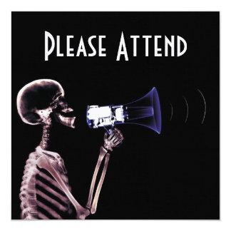 X-RAY VISION SKELETON ON MEGAPHONE - ORIGINAL CUSTOM INVITATION