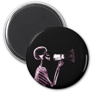 X-RAY VISION SKELETON ON MEGAPHONE -PINK 2 INCH ROUND MAGNET