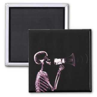 X-RAY VISION SKELETON ON MEGAPHONE -PINK 2 INCH SQUARE MAGNET
