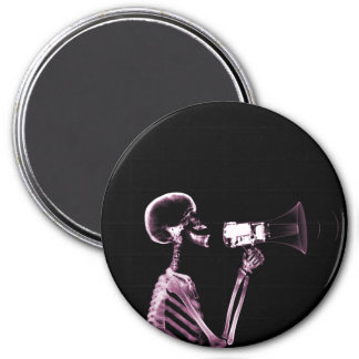 X-RAY VISION SKELETON ON MEGAPHONE -PINK 3 INCH ROUND MAGNET